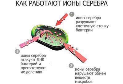 Работа ионов серебра