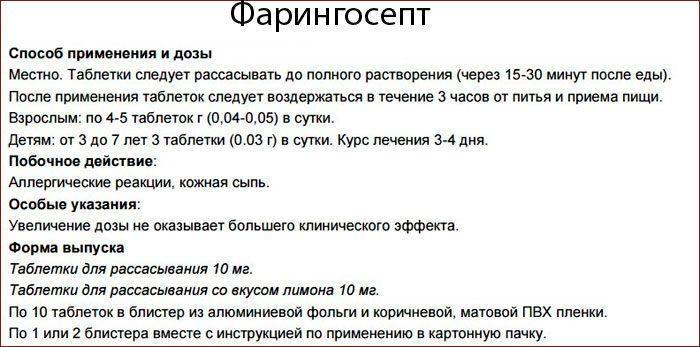 Инструкция к препарату Фарингосепт