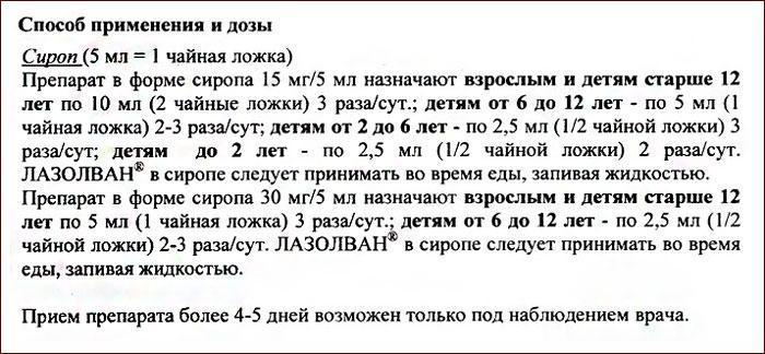 Инструкция по применению препарата Лазолван