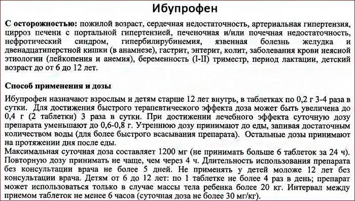 Инструкция к препарату Ибупрофен