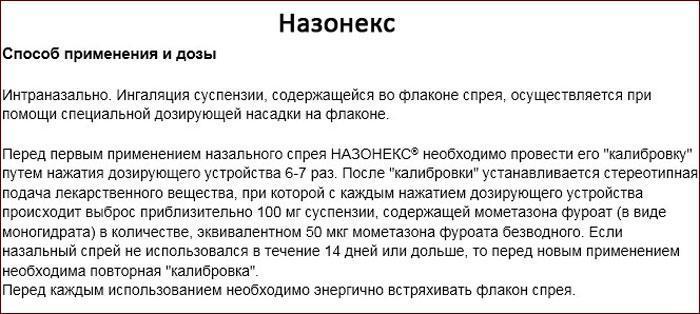 инструкция к лекарственному препарату Назонекс