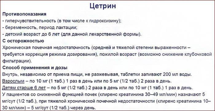 инструкция к препарату Цетрин