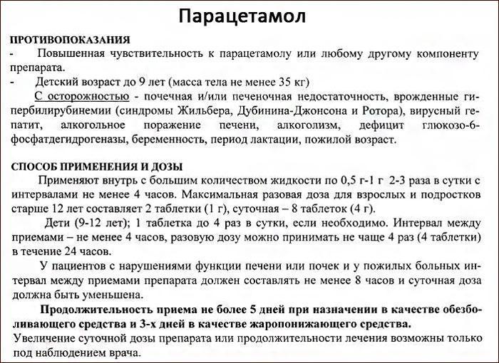инструкция к препарату Парацетамол