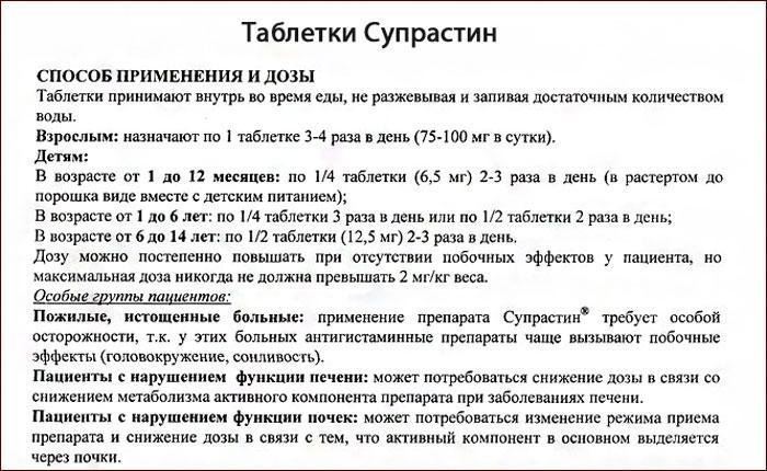 Инструкция по применению таблеток Супрастин.