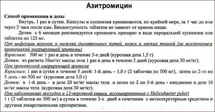 Инструкция по применению препарата Азитромицин