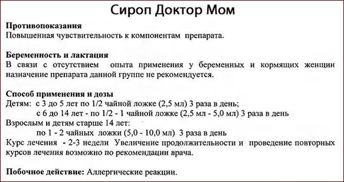 Сироп Доктор Мом: инструкция по применению.
