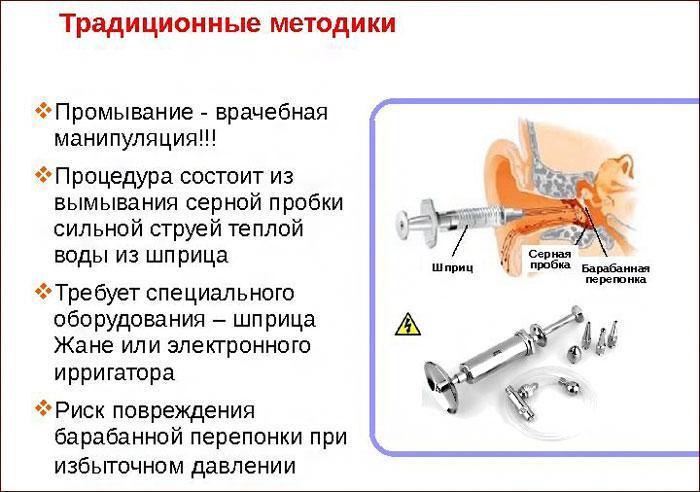 Методика промывания уха шприцом