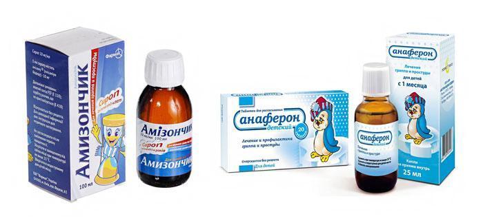 Лекарственные препараты Амизончик и Анаферон.