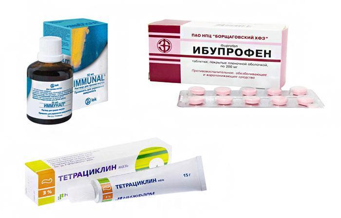 Препараты Иммунал, Тетрациклиновая мазь и Ибупрофен.