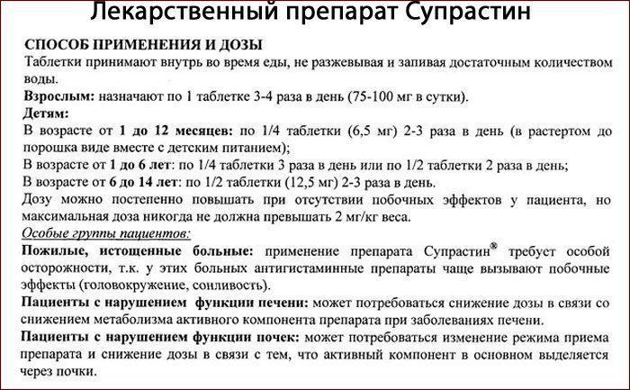 Инструкция к препарату Супрастин