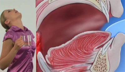 Процесс полоскания горла